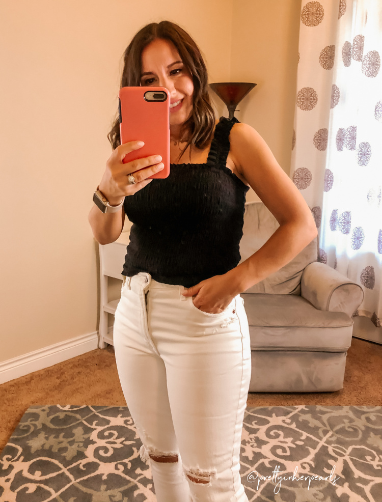 Black Smocked Tank Top and White Jeans