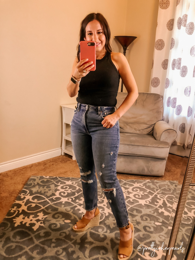 Abercrombie Black bodysuit and distressed momjeans