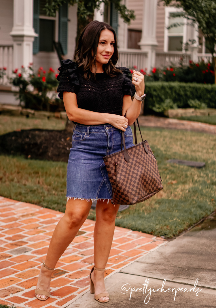 Eyelet top, jean skirt, and heels