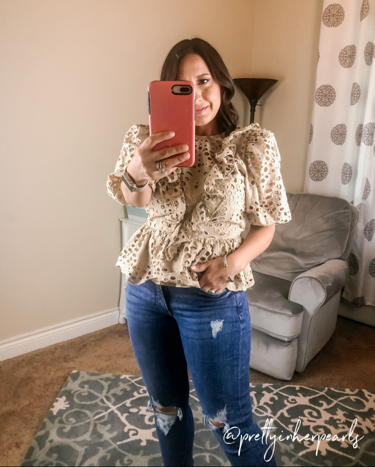 Express Puff Sleeve Top and Skinny Jeans