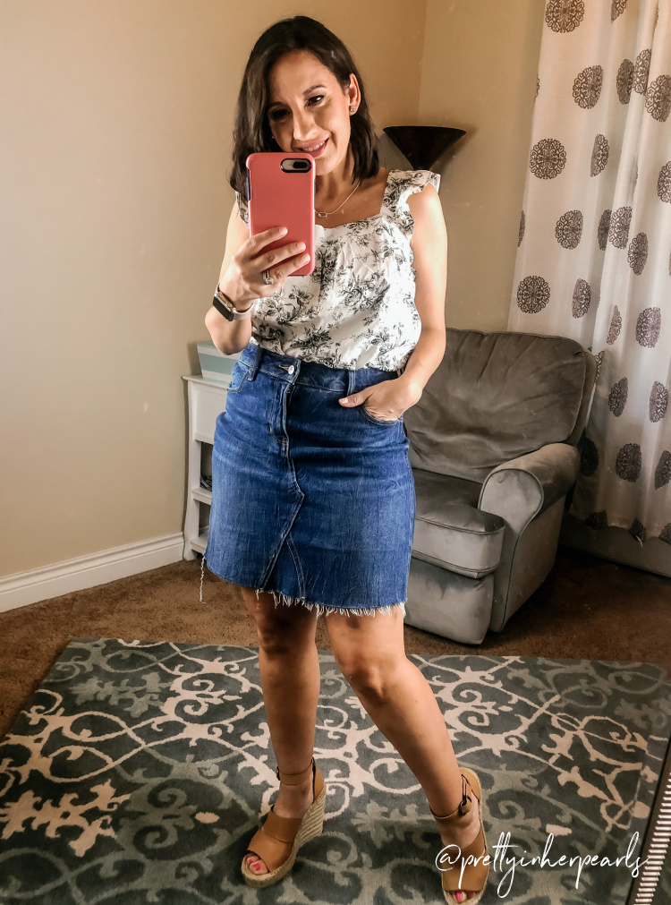 Loft Floral Top and Jean Skirt