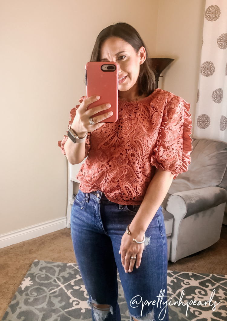 Express Lace and Ruffle Top