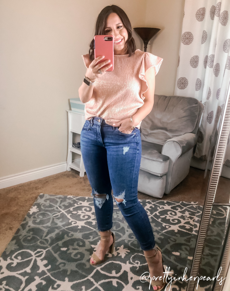 Metallic Pink Top and Skinny Jeans