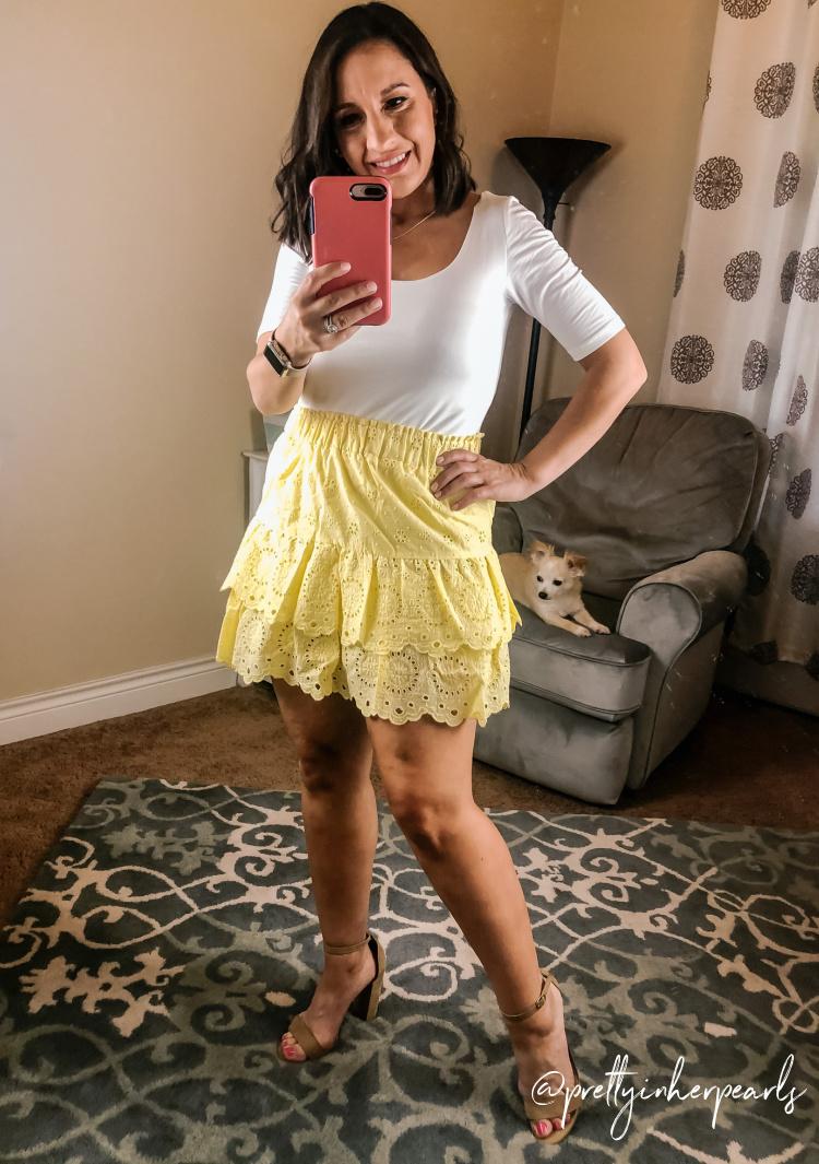 Loft White Bodysuit and Eyelet Ruffle Skirt