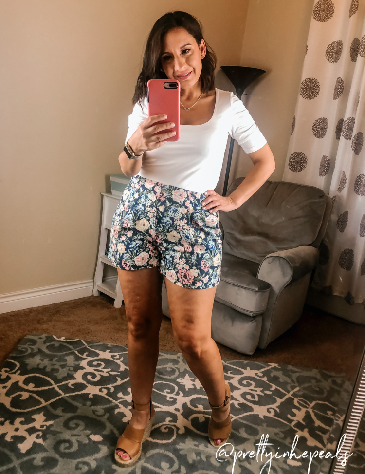 White Bodysuit and Floral Shorts, Petite Style