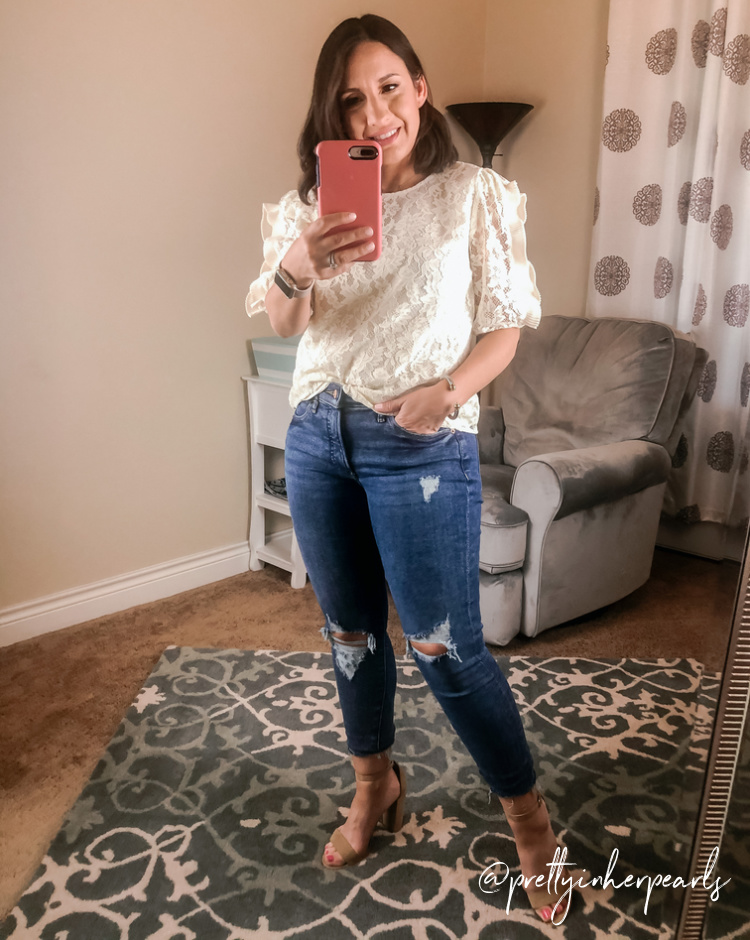 Express White Lace Ruffle Top and Skinny Jeans