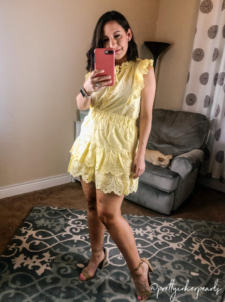Loft Yellow Eyelet Top and Eyelet Ruffle Skirt