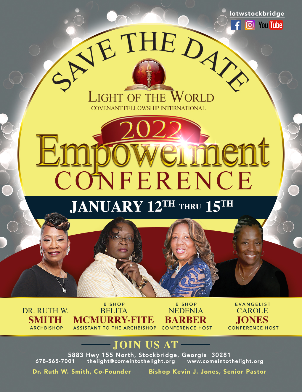 save the date flyer for the 2022 Empowerment Conference Jan 12 - 15 2022