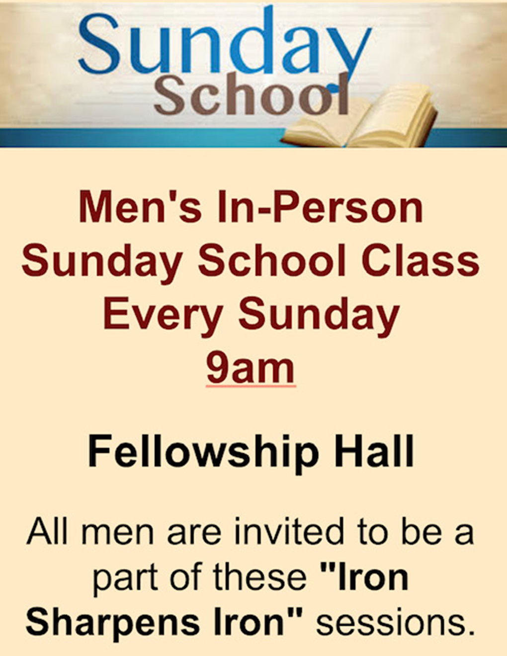 flyer announcing men's in person sunday school every sunday 9am