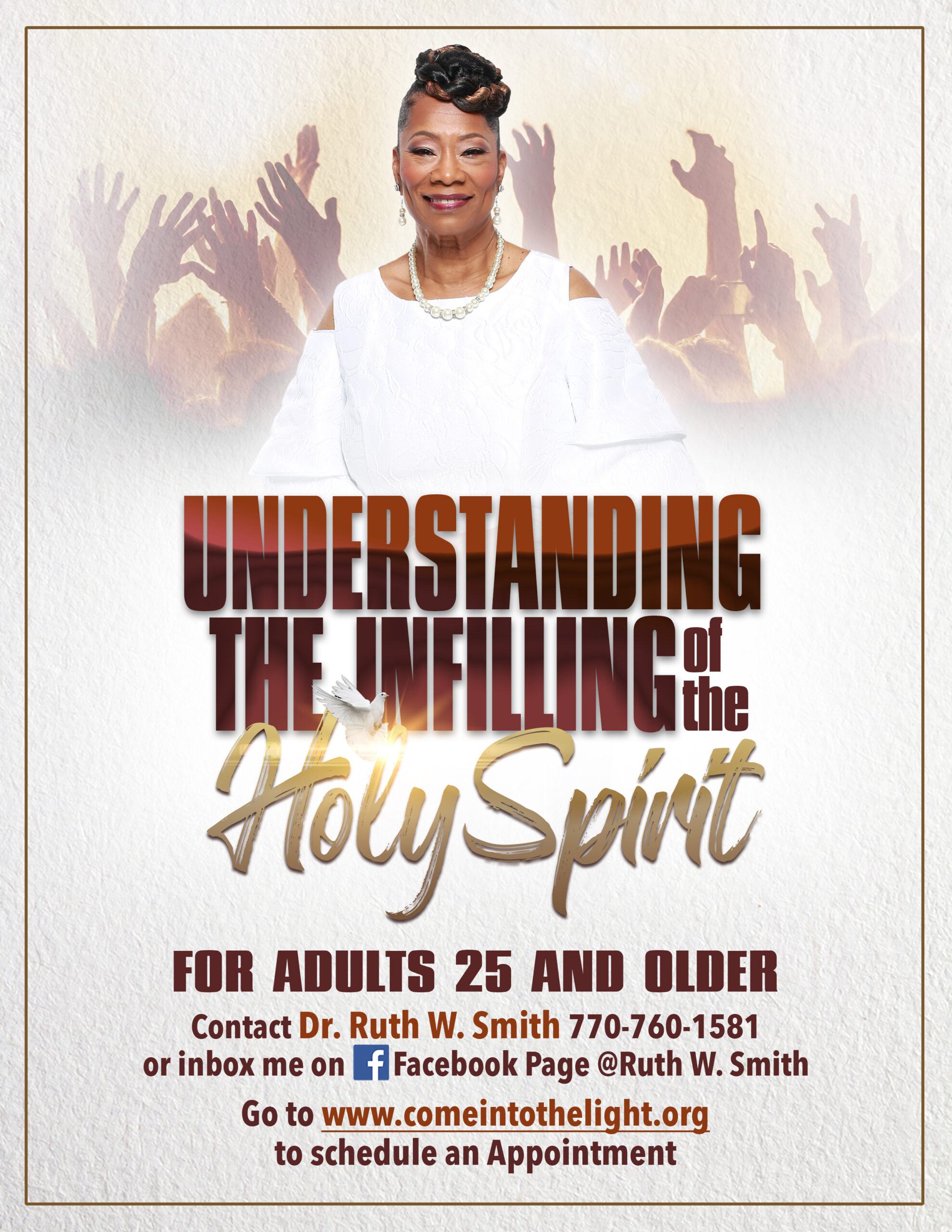 Flyer of Understanding the Infilling of the Holy Spirit with photo of Bishop Ruth W Smith