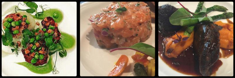 Scallops, Pea, Chorizo. Salmon Tartare. Slow cooked Beef Cheeks. The Eloquent Elephant. Business Bay. Dubai