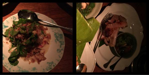 Green beef curry & Grilled pork cheek. Nahm Bangkok