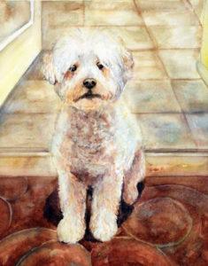 dog watercolor portrait, dog painting