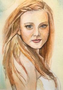 watercolor portrait, woman watercolor portrait, Heather Torres Art