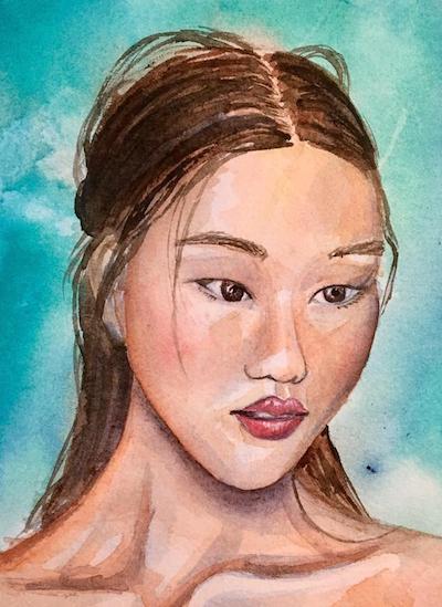 Asian Watercolor Portrait, Watercolor Portrait