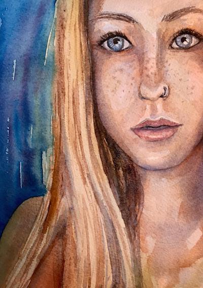 watercolor portrait, girl watercolor portrait