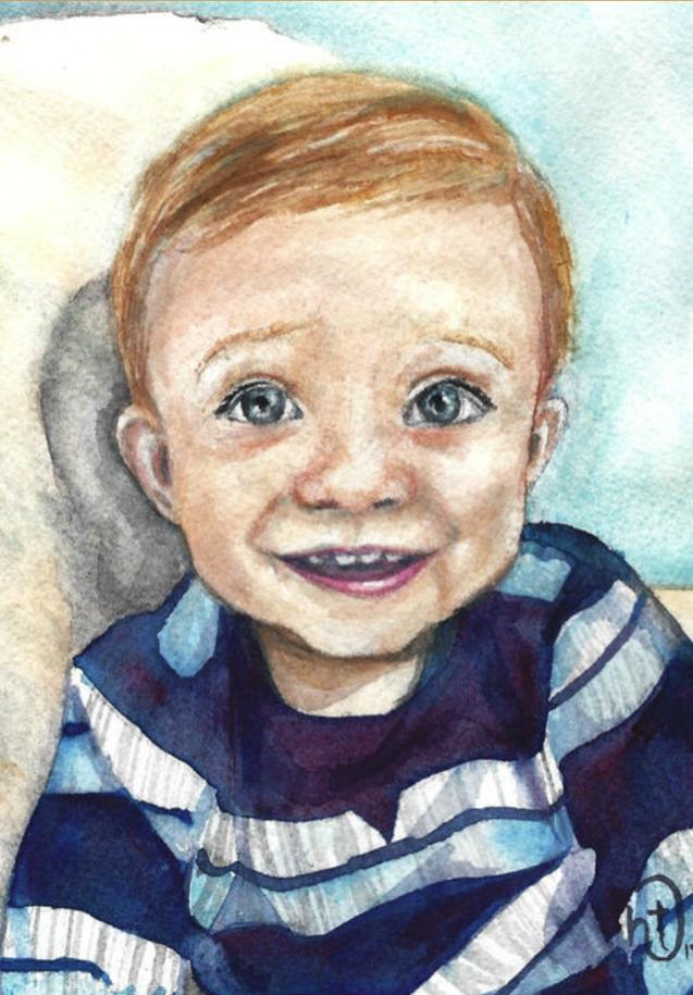 baby watercolor portrait,