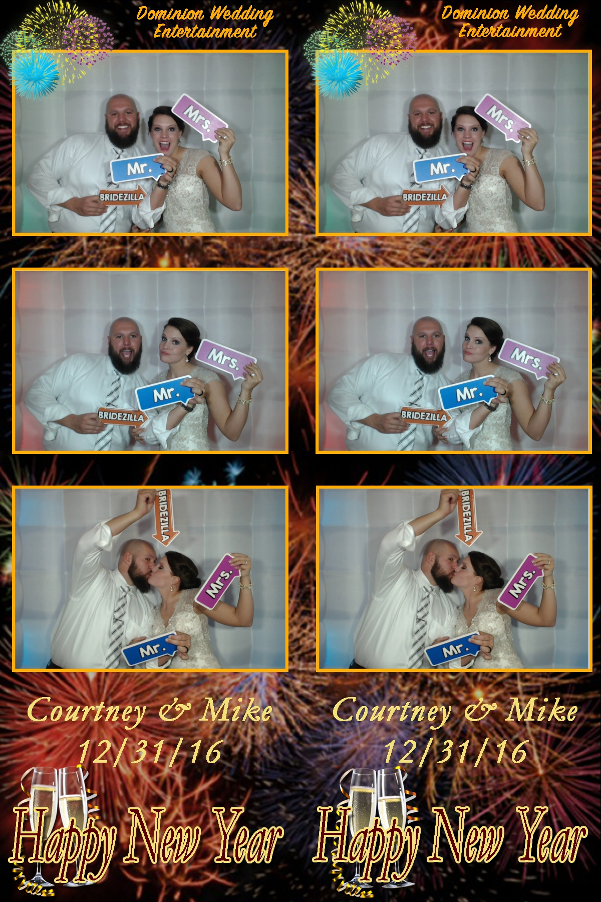 Courtney and Mike's glorious New Year's Eve wedding captured in the photo booth