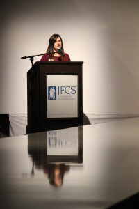Kathryn Miles, JFCS Executive Director, thanks attendees.