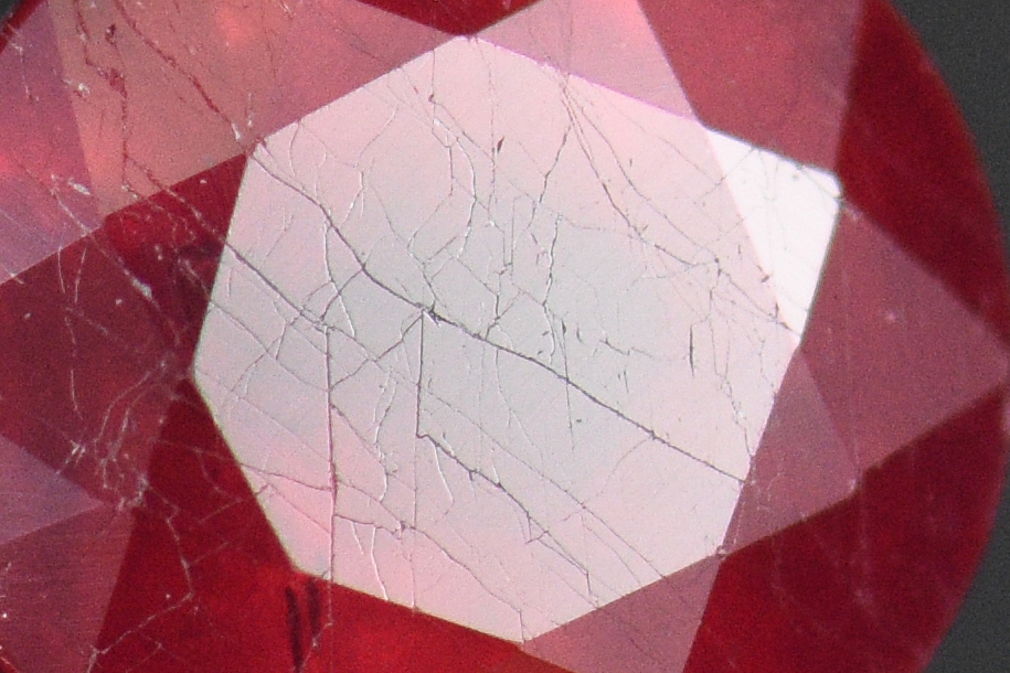 """Spider Webs in Glass Filled """"Ruby"""""""