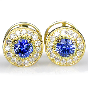 Blue Sapphire Diamond Earrings