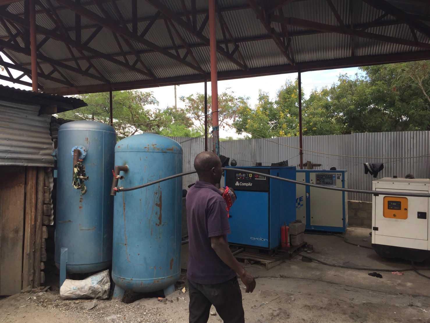 Air compressors to bring air to the miners deep down in heart of Africa.