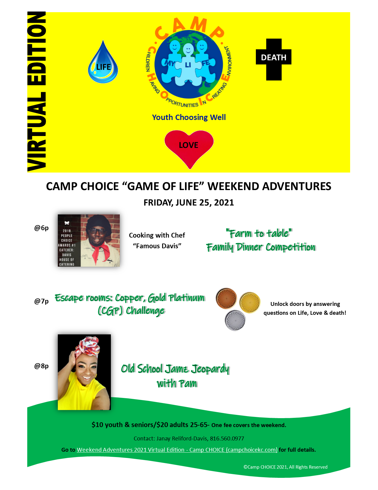 Camp CHOICE Life, Love, Death Cooking, CGP Competitions