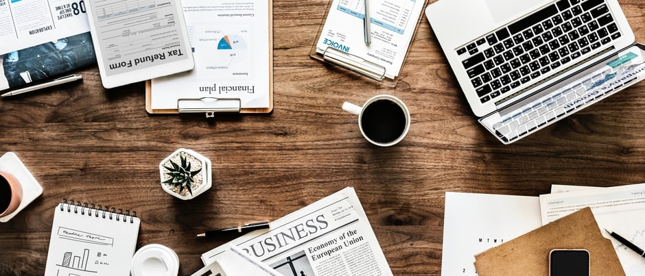 desktop with business materials