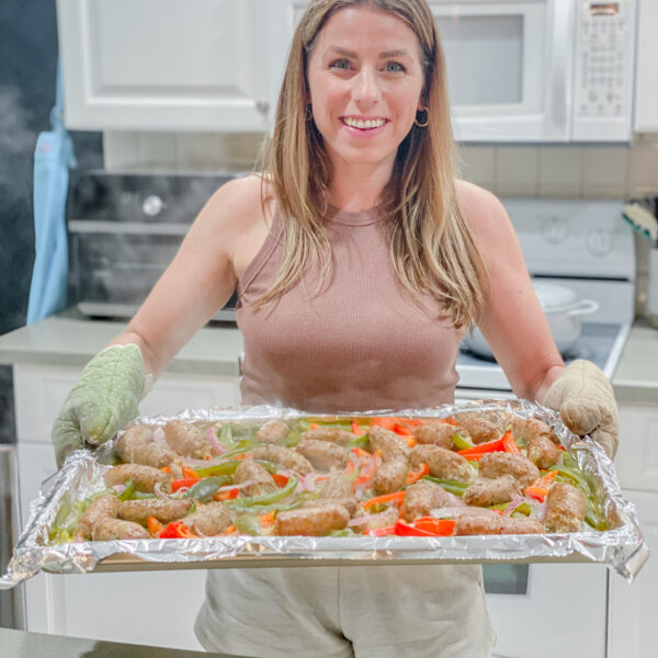 Sheet Pan Dinner Sausage and Peppers Party Food Quick Dinner Idea