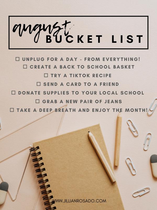August Bucket List Summer Back To School