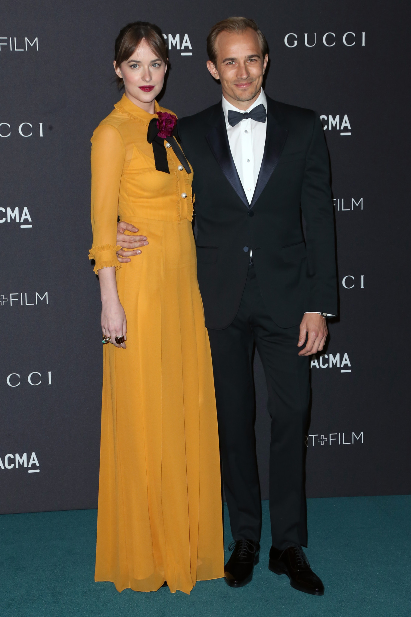LOS ANGELES, CA - NOVEMBER 07:  Actress Dakota Johnson (L) and Jesse Johnson attend LACMA 2015 Art+Film Gala Honoring James Turrell and Alejandro G Iñárritu, Presented by Gucci at LACMA on November 7, 2015 in Los Angeles, California.  (Photo by Frederick M. Brown/Getty Images)