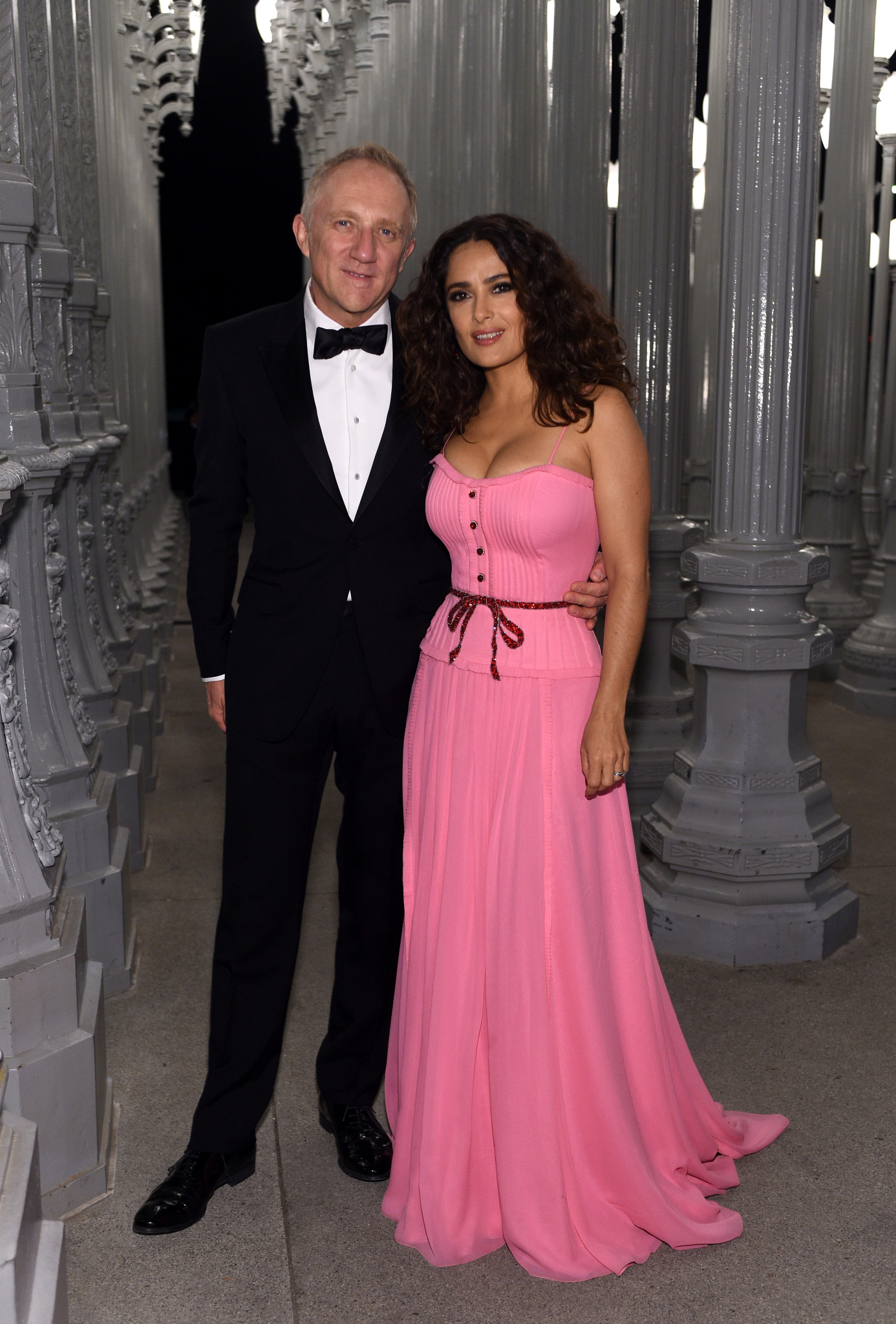 LOS ANGELES, CA - NOVEMBER 07:  Actress Salma Hayek (R) and businessman Francois-Henri Pinault attends LACMA 2015 Art+Film Gala Honoring James Turrell and Alejandro G Iñárritu, Presented by Gucci at LACMA on November 7, 2015 in Los Angeles, California.  (Photo by Stefanie Keenan/Getty Images for LACMA)