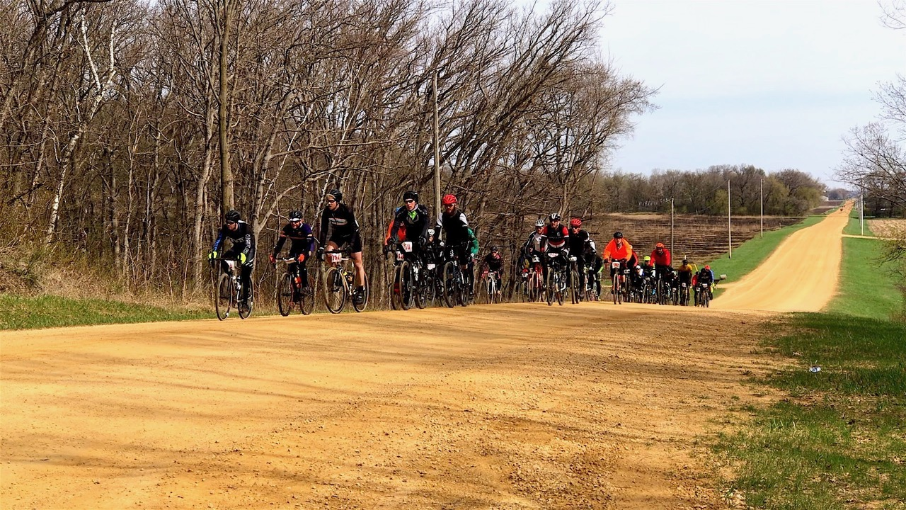 Bikers on a gravel road outside of Miesville
