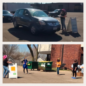 Child Care Aware staff distribute cleaning products to providers during COVID-19 pandemic.