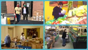 Food shelf volunteers pack and distribute food during COVID-19 pandemic.