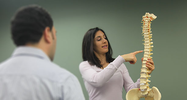 Dr. Kara Firestone pointing out parts of the spine