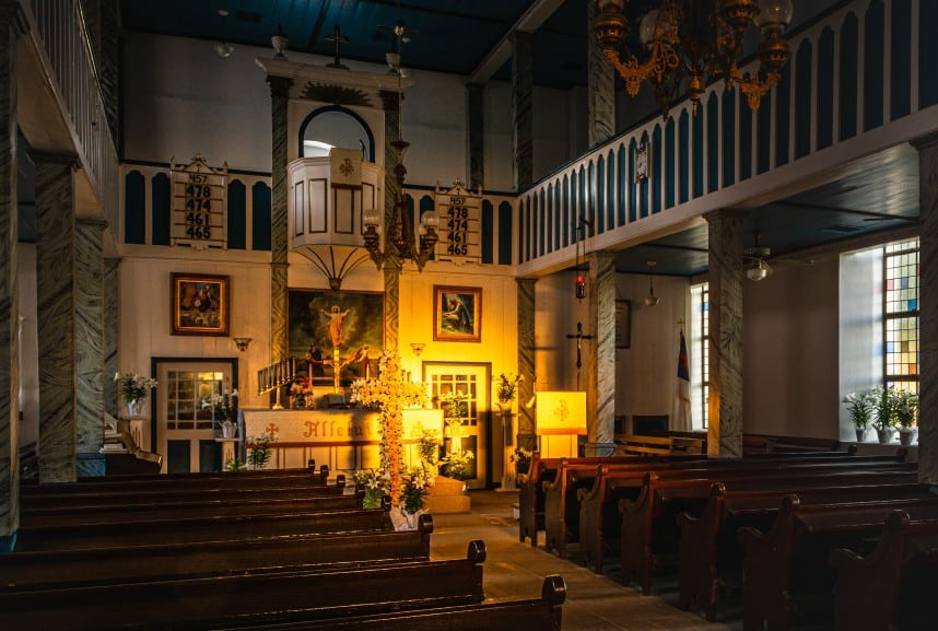 interior of church with Easter decorations