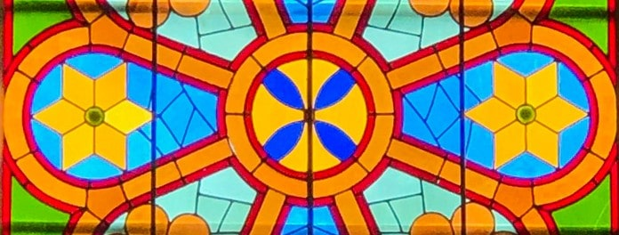 Close up photo of stained glass window