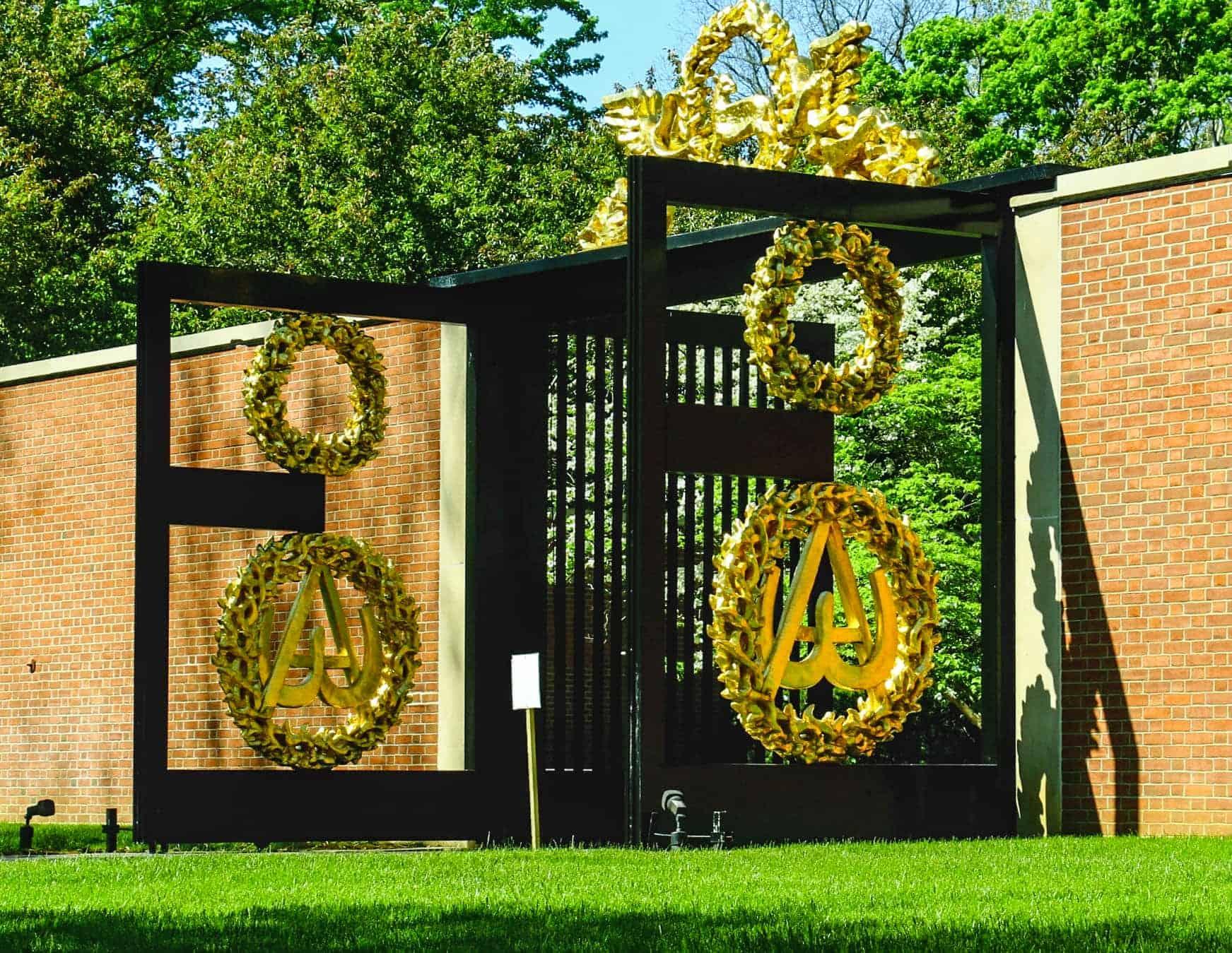Main gates at roofless church
