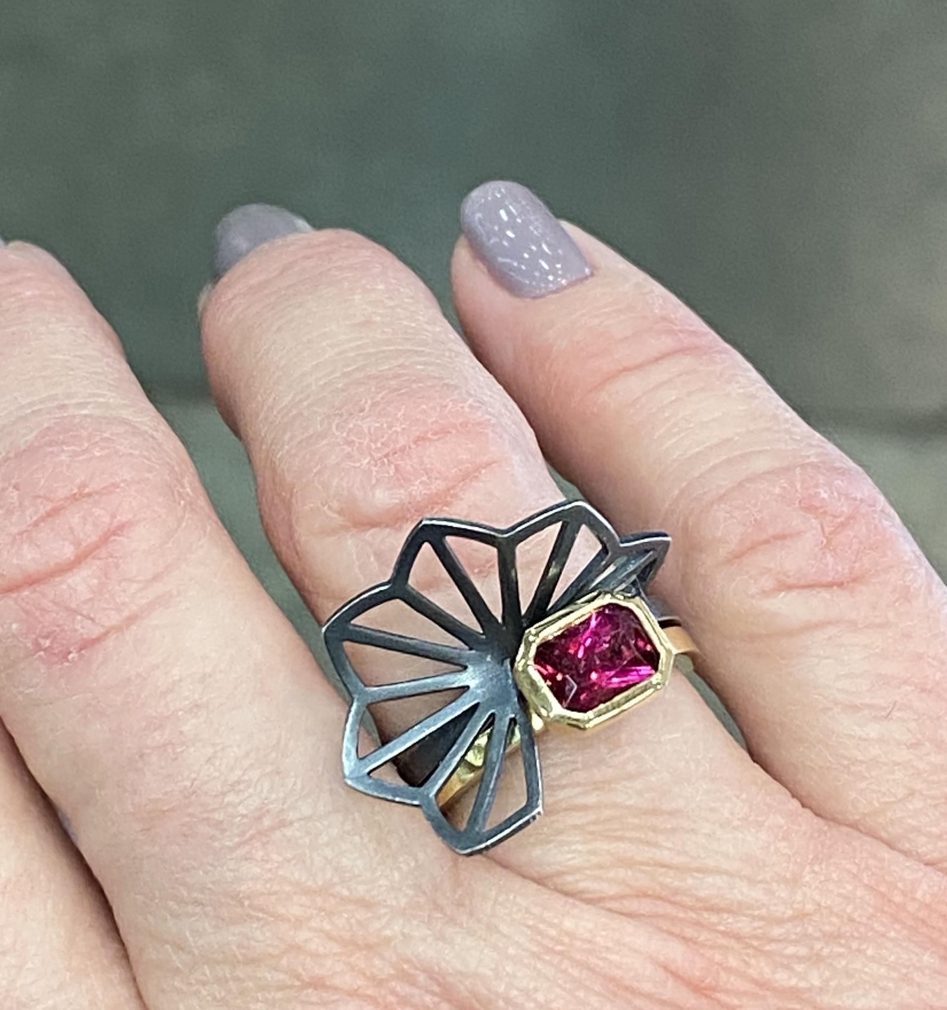 Karin Jacobson Origami ring set with pink tourmaline