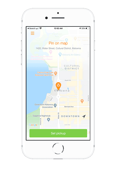 mobile taxi booking app shows set a pickup location screen