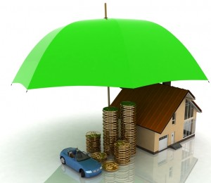 Car, stacks of gold coins, and a house under a large umbrella