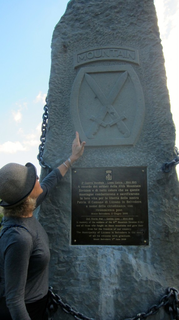 Donna, standing at the 10th Mountain Division on Mt. Belvedere