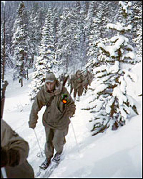 Soldiers training in the Rockies