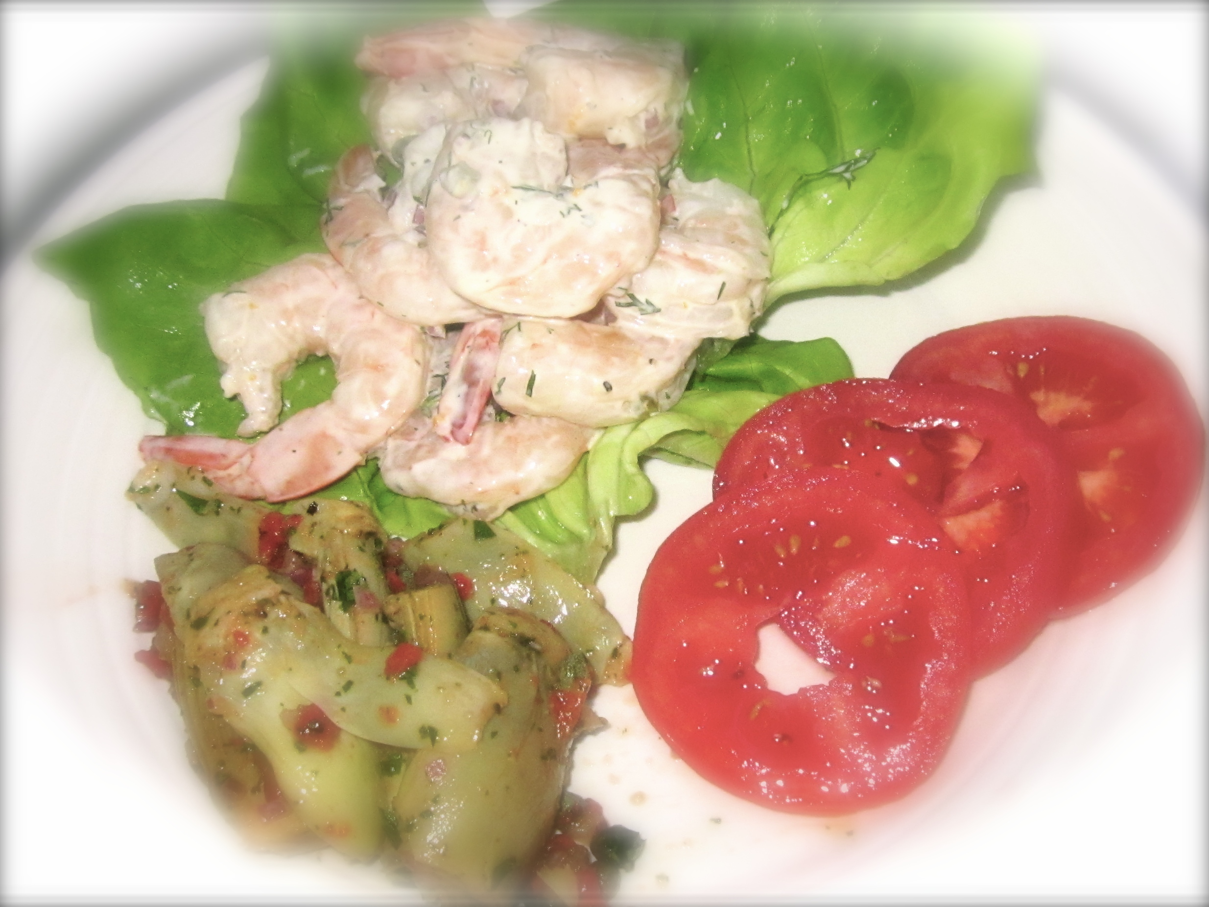 The best of the supper menu: Roasted Shrimp Salad, Roasted Artichoke Hearts and Colorado tomatoes.