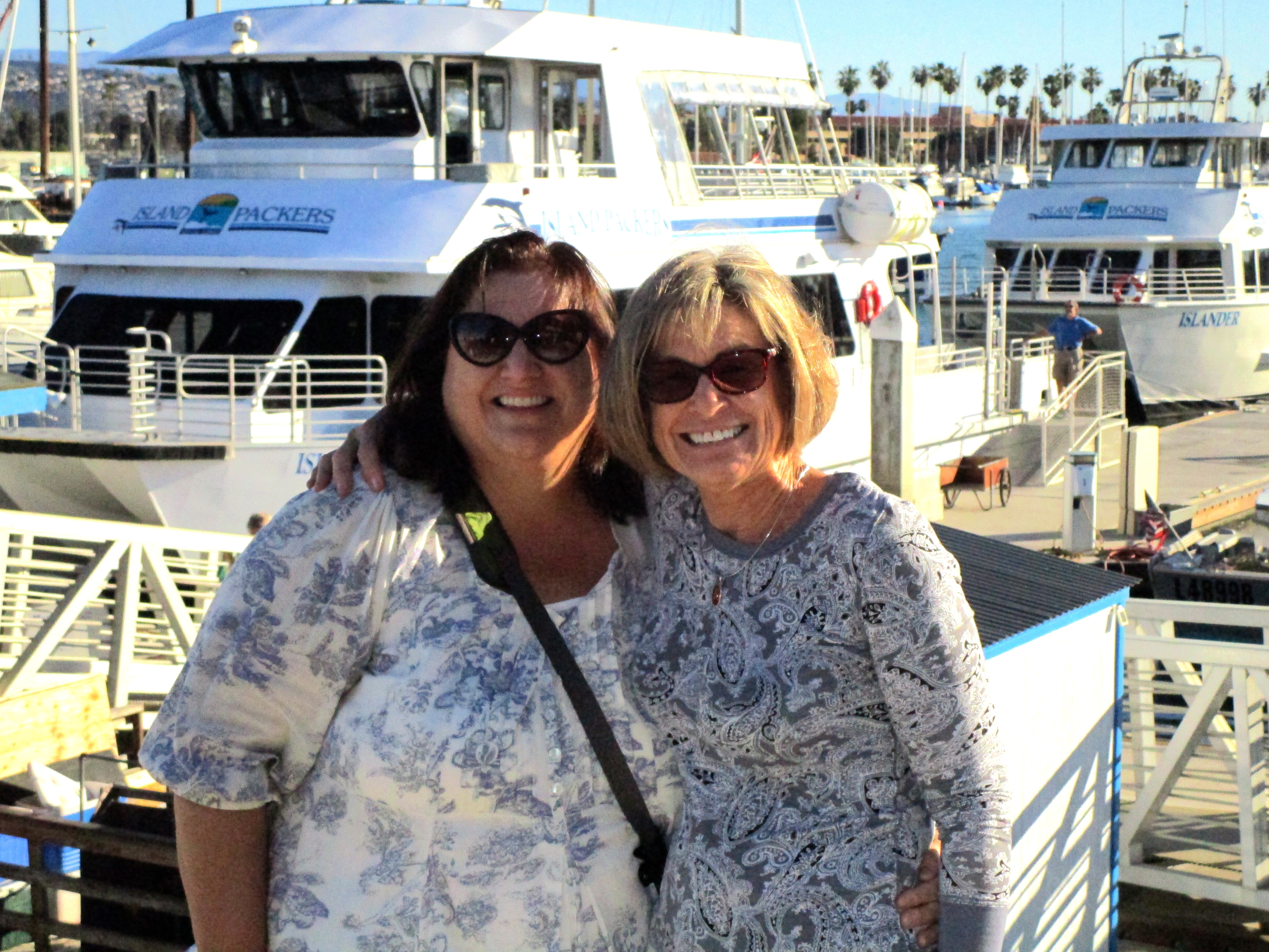 Keeping a promise made to me a year ago, Susan and I are ready to go aboard the Island Packers.