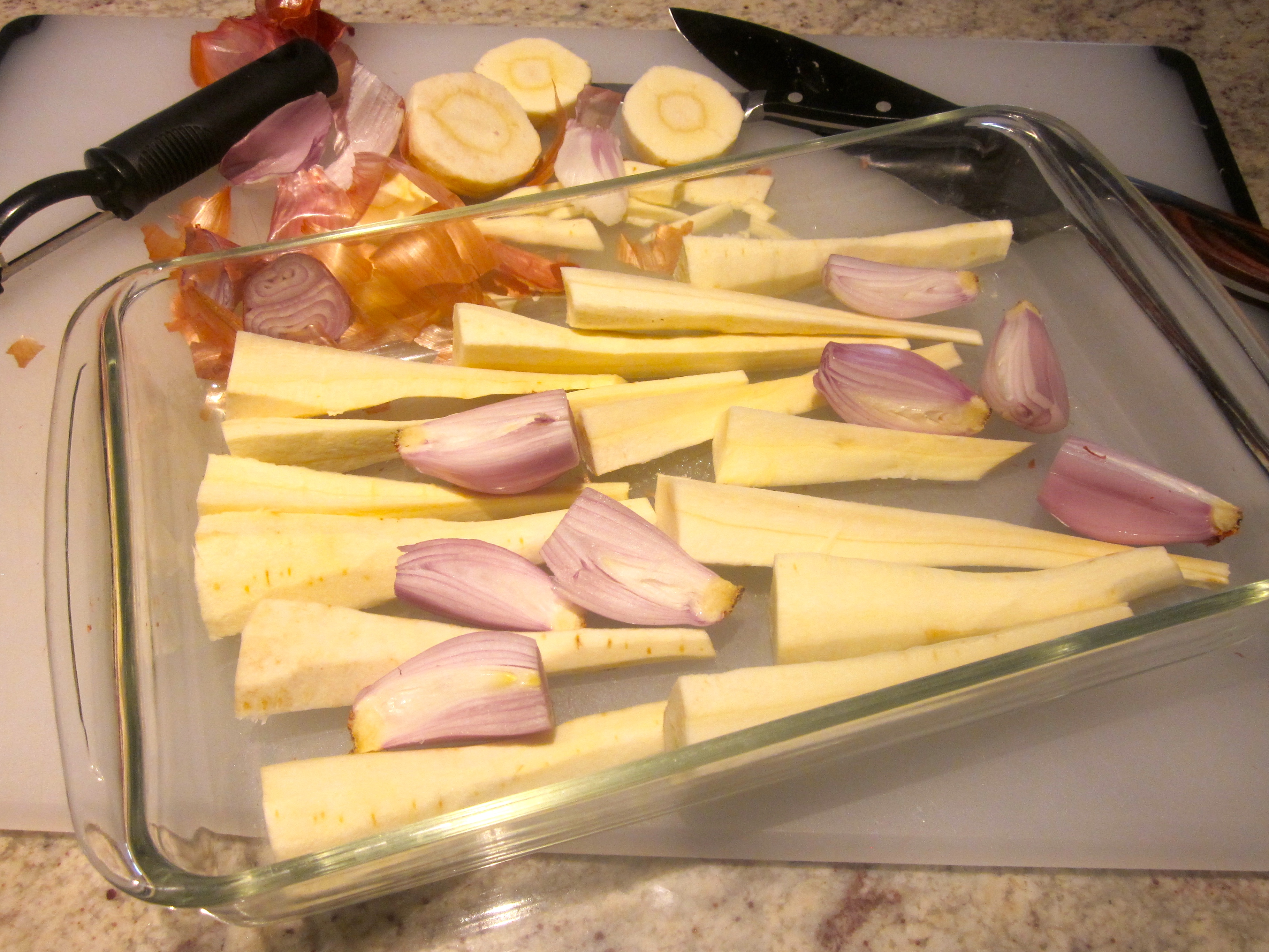 Roasted Parsnip Chips with shallots.