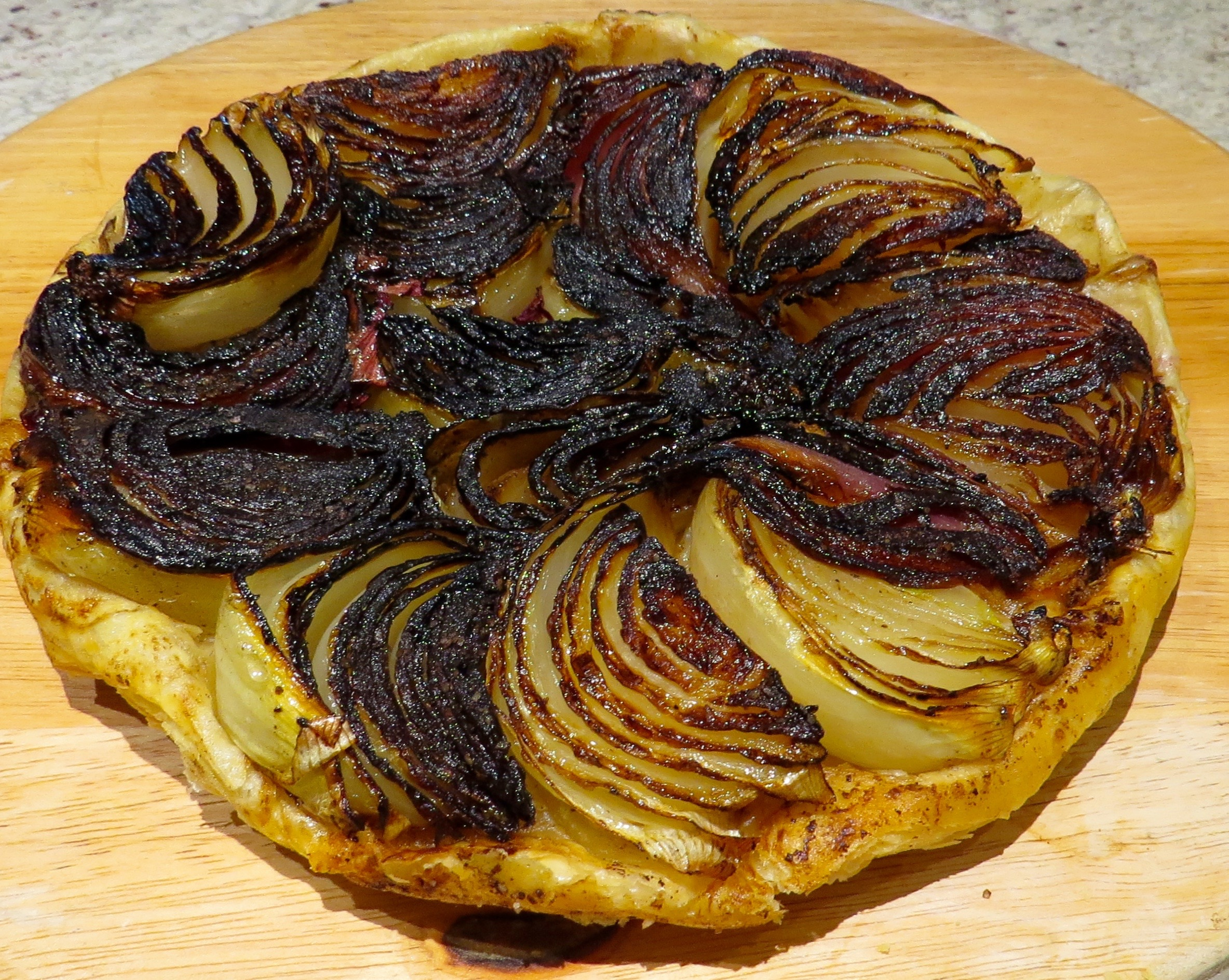 Upside-down Onion Tart laced with Balsamic Vinegar,