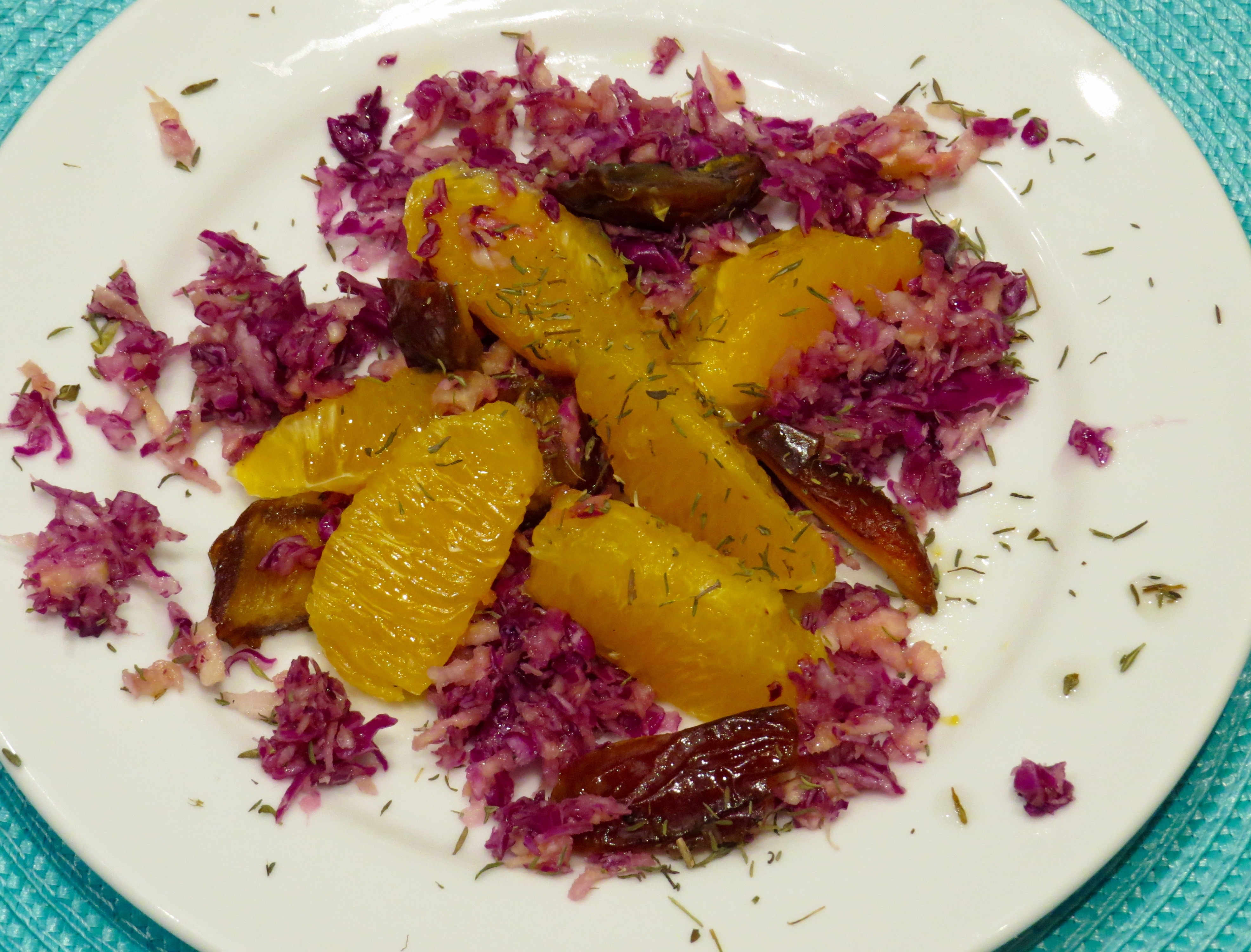Red Cabbage, Parsnip, Orange and Dates Salad has Zing - that's the perfect word. The orange's juice provides the dressing.