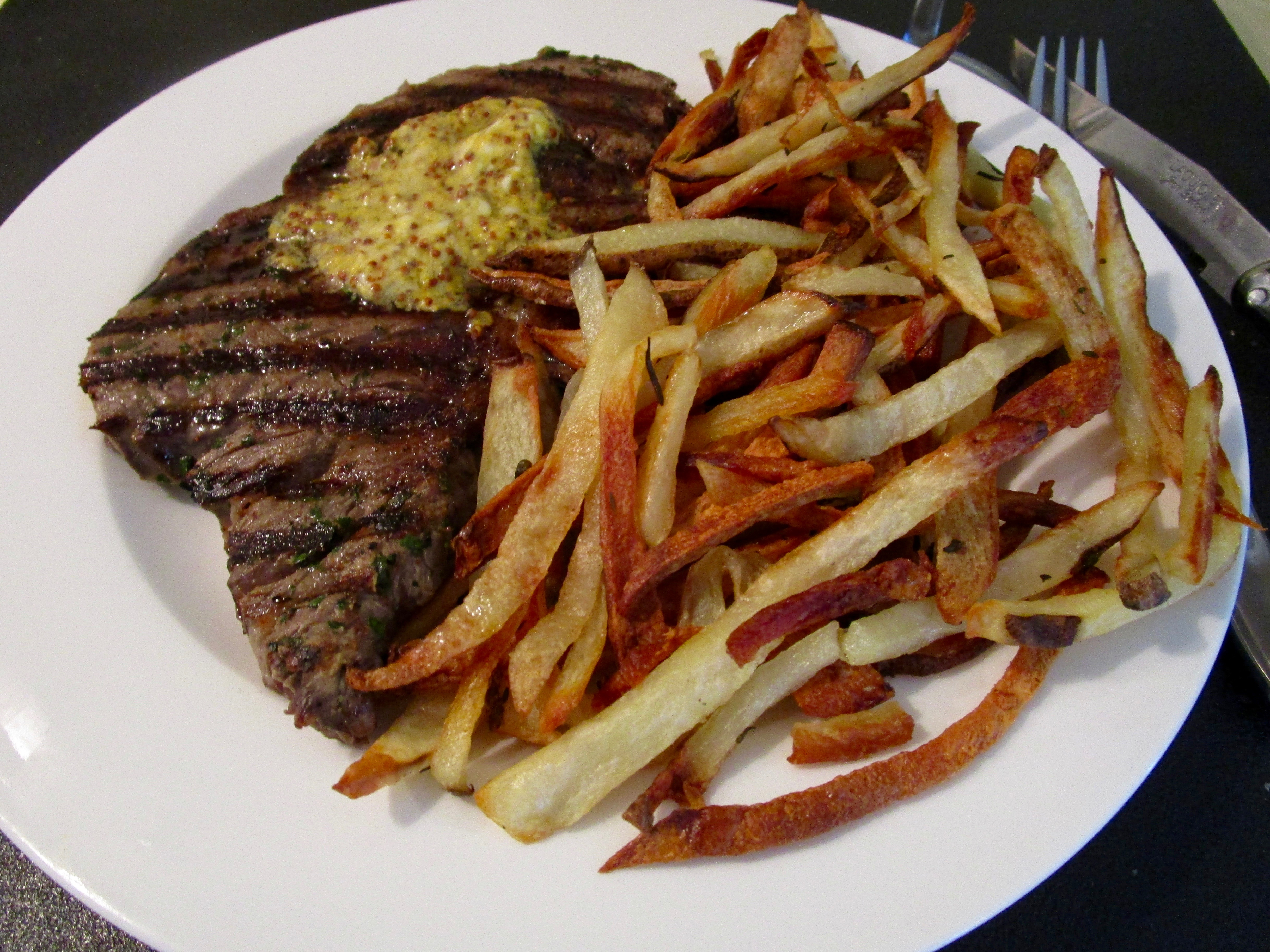 Cook-the-Book Fridays - Steak with Mustard Butter & French Fries